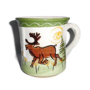 Caribou Coffee Mug Handmade Moose Farm Scene